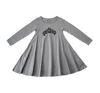 שמלת ג'רזי מסתובבת עם שרוול ארוך - אפור בשילוב הדפס כתר