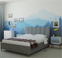 חדר שינה קומפלט TERESA בעיצוב איטלקי ייחודי הכולל מיטה זוגית מרופדת בד, 2 שידות וקומודה GAROX