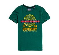 טי שירט בהדפס לוגו וינטג' Heritage Crest Tape לנשים  - ירוק