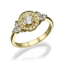 טבעת אירוסין זהב צהוב בעיצוב וינטאג ייחודי 1.01 קראט