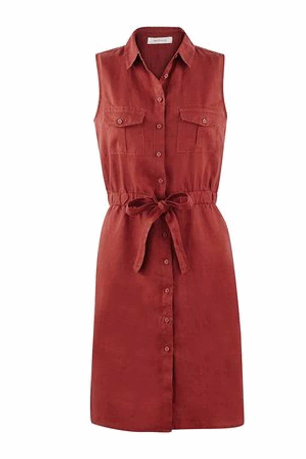 """שמלת ספארי """"שייקית"""" PROMOD - אדום"""