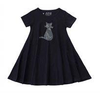 שמלה מסתובבת חתול מנצנץ בצבע שחור