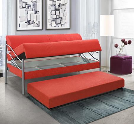 ספת ילדים ונוער LEONARDO על קל איכותית הנפתחת למיטה זוגית דגם אדומית כולל ארגז מצעים  - תמונה 3