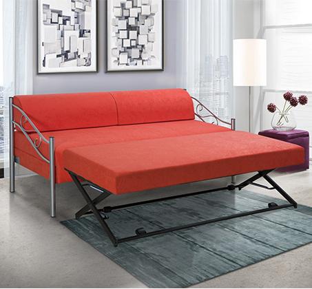 ספת ילדים ונוער LEONARDO על קל איכותית הנפתחת למיטה זוגית דגם אדומית כולל ארגז מצעים  - תמונה 2