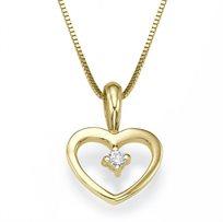 תליון לב יהלומים עדין על שרשרת זהב