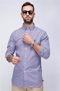 חולצה מכופתרת סגולה SLIM FIT לוגו כחול POLO RALPH LAUREN