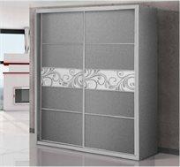 ארון הזזה שתי דלתות בשילוב זכוכית ועץ לביד דגם ארז קרלו + 2 מגירות מתנה