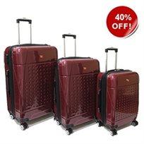 Swiss Travel סט 3 מזוודות קשיחות בורדו!