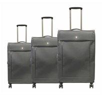 swiss travel סט 3 מזוודות superlight אפור