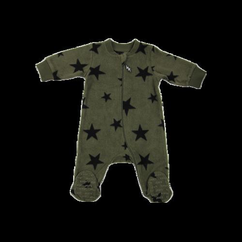 Minene / אוברול פליז רגליות (0-6 חודשים) Cool כוכבים - ירוק זית