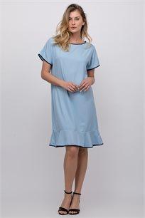 שמלת אריג חלקה עם סיומת פפלום