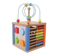 קוביית פעילות לתינוק הכוללת משחקי חשיבה ומוטוריקה שונים
