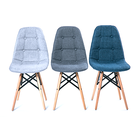 כיסא לפינת אוכל מעוצב בריפוד בד במגוון צבעים לבחירה - תמונה 3