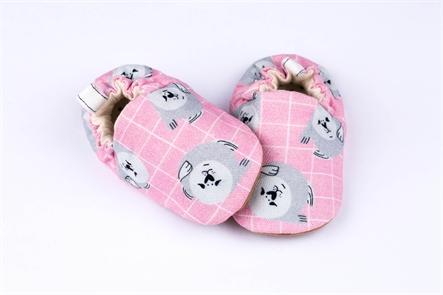 נעלי טרום הליכה מיני שוז- ורוד, הדפס כלבי ים
