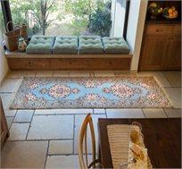 שטיח ראנר עבודת יד תכלת פרחים