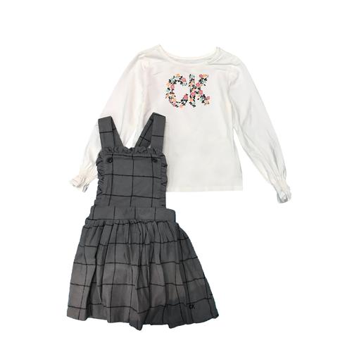 Calvin Klein חליפת אוברול חצאית (7-4 שנים) - אפור לבן