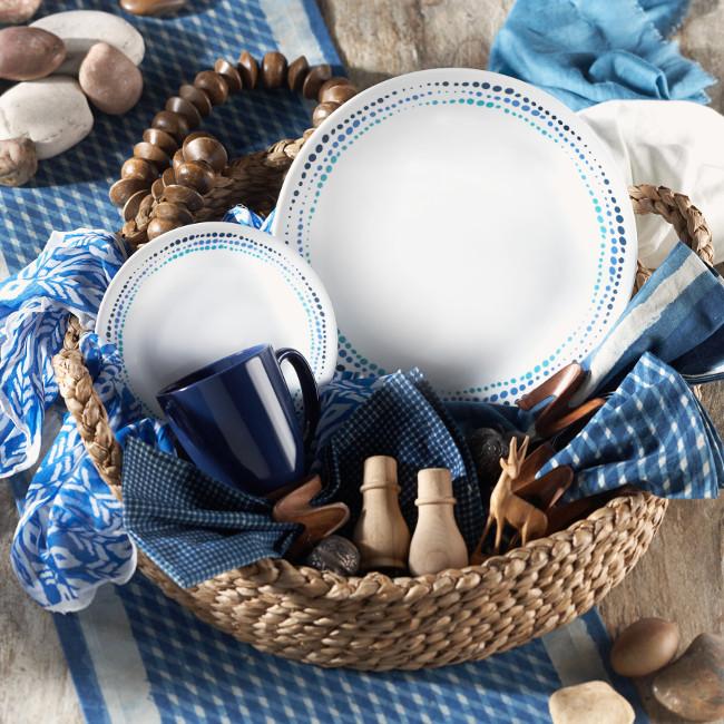 סט 12 חלקים ל 4 סועדים מסדרת Livingware דגם Ocean Blues מבית קורנינג תוצרת ארה