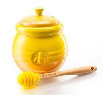צנצנת עם מכסה לאחסון והגשה של דבש מקרמיקה LE CREUSET + סט מגנטים מתנה