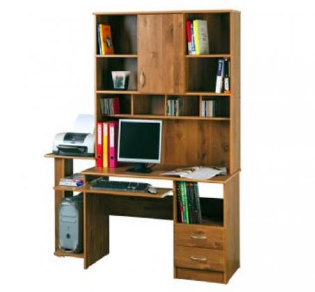 פינת עבודה גדולה למחשב עם ספריה ושתי מגירות מושלם לבית למשרד ולסטודנטים - תמונה 2