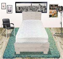 מיטה זוגית מועצבת אולימפיה מעץ אורן מלא דגם שלגיה, כולל מזרן קפיצים אורתופדי מתנה ב-4 צבעים לבחירה