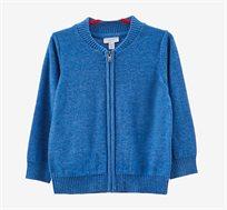 קרדיגן סריג לתינוקות עם רוכסן בצבע כחול