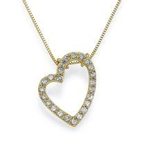 תליון יהלום לב 0.40 קראט על שרשרת זהב