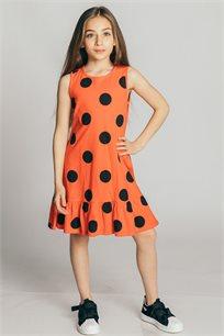 שמלת גופייה טריקו בהדפס נקודות לילדות Kiwi בצבע כתום