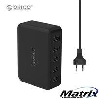 מטען שולחני ORICO עם 5 כניסות USB סופר מהיר עוצמה 40W - 7.8A ניהול טעינה מתקדם מאפשר טעינה מהירה