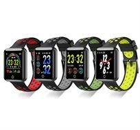 שעון ספורט חכם עם תצוגת לד צבעונית מד דופק ומד לחץ דם מובנים מד צעדים מדידת מרחק וקלוריות