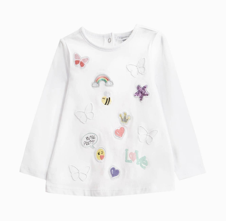 חולצה ארוכה OVS לילדות - לבן עם פאצ'ים ופאייטים