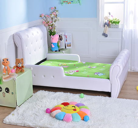 מיטת מעבר לילדים בשילוב כפתורים דמוי קריסטל דגם נסיכה בצבע לבן - קוקולה - תמונה 4
