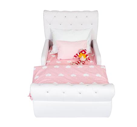 מיטת מעבר לילדים בשילוב כפתורים דמוי קריסטל דגם נסיכה בצבע לבן - קוקולה - תמונה 3