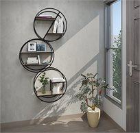 שלישיית מעמדי קיר עשויים מתכת בשילוב עץ דגם אלמוג RAZCO