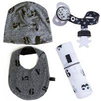 Babymitmit סט לתינוק Numbers - כובע, סינר, חיתול טטרה וסרט למוצץ
