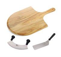 ערכה לחיתוך והגשת פיצה ומאפים ROSOPRO הכולל קרש חיתוך והגשה, סכין חיתוך 2 ידיות ופלטה רחבה