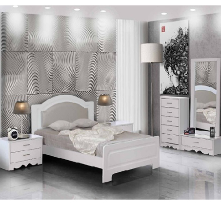 סט ריהוט לחדר השינה עם מיטה שידות ומראה דגם פיראוס