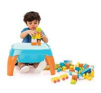 שולחן פעילות ויצירה + 42 לבני בנייה צבעוניים לילדים