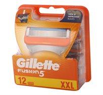 מארז  הכולל 12 סכיני גילוח ידניים בעלי 5 להבים לגילוח חלק ונעים Gillette Fusion