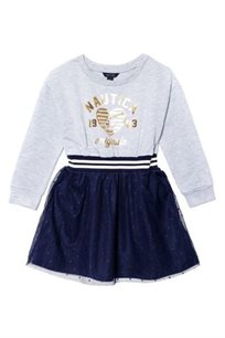 NAUTICA שמלה (5-2 שנים)- אפור מלמלה כחולה