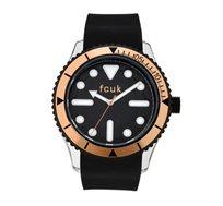 שעון יוקרתי לגבר French Connection עם רצועת גומי - שחור