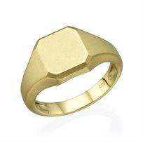 טבעת חותם זהב צהוב מט
