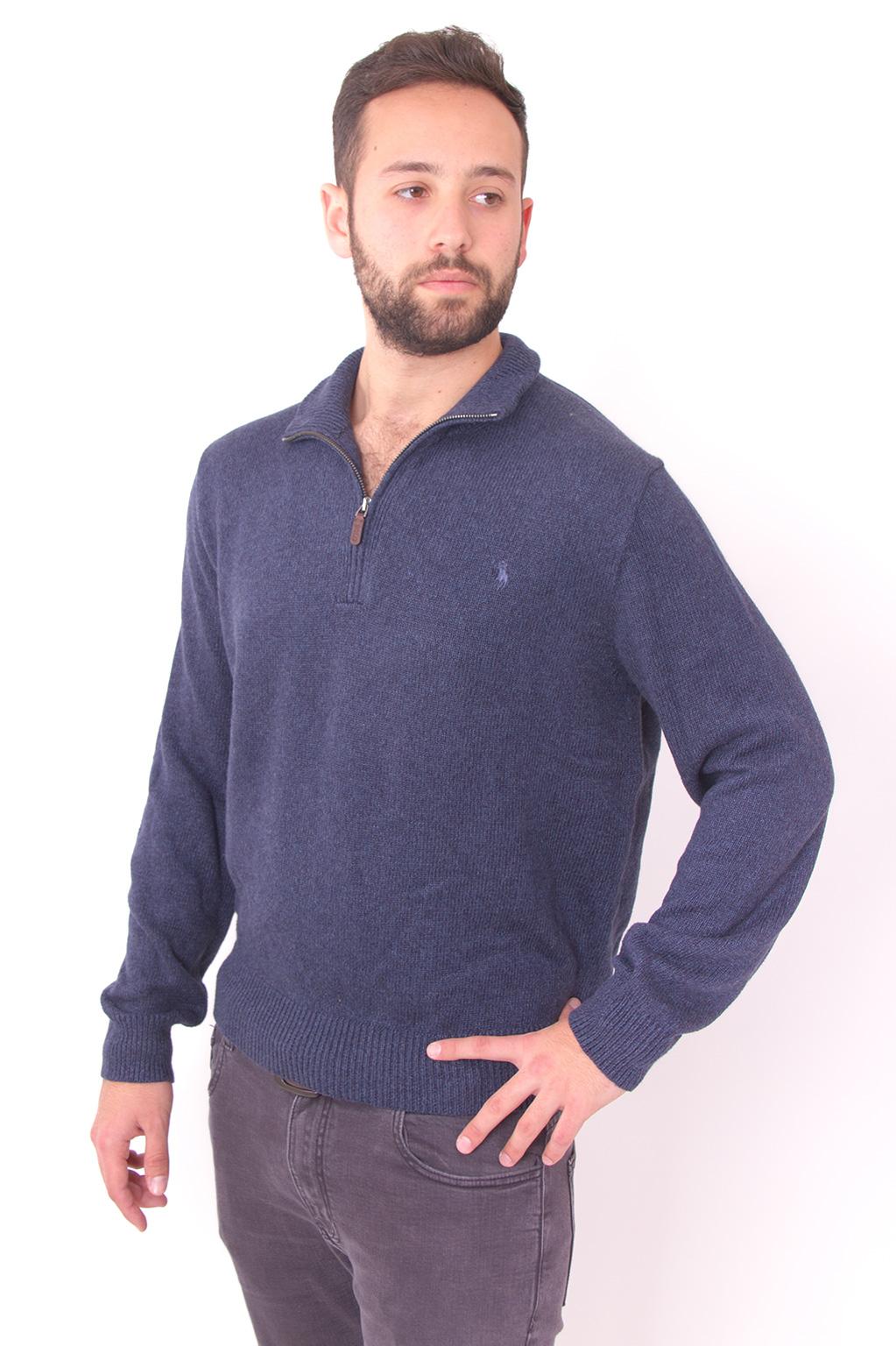 סוודר כחול כהה חצי ריץ רץ עם לוגו סוס כחול