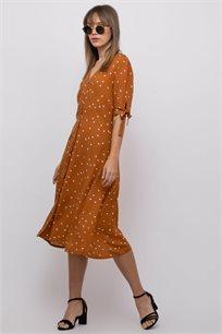 שמלת אריג כפתרה ושרוולים קצרים עם קשירה