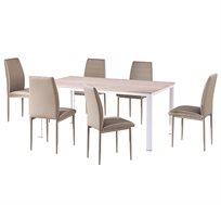 פינת אוכל מודרנית כוללת 6 כיסאות מרופדים