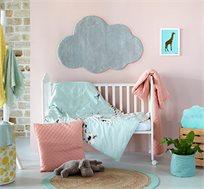 סט מצעי כותנה למיטת תינוק דגם עולם + סט מגבות ידיים מתנה