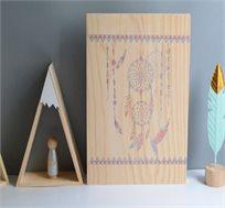 לוח עץ לוכד חלומות דגם אינדיאן