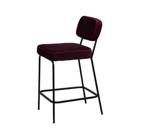 כיסא בר דגם ניקו ביתלי בעיצוב רטרו בעל רגלי מתכת חסונות וריפוד בד בצבע סגול - תמונה 2