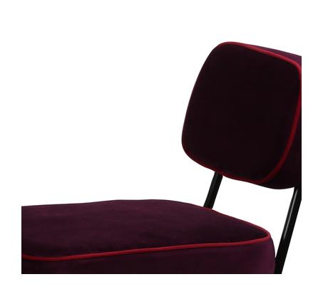כיסא בר דגם ניקו ביתלי בעיצוב רטרו בעל רגלי מתכת חסונות וריפוד בד בצבע סגול - תמונה 3