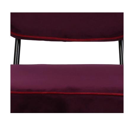 כיסא בר דגם ניקו ביתלי בעיצוב רטרו בעל רגלי מתכת חסונות וריפוד בד בצבע סגול - תמונה 4