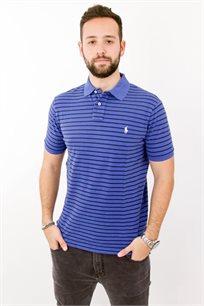 חולצת פולו POLO RALPH LAUREN CUSTOM FIT לגבר בצבע כחול עם פסים בצבע כחול כהה
